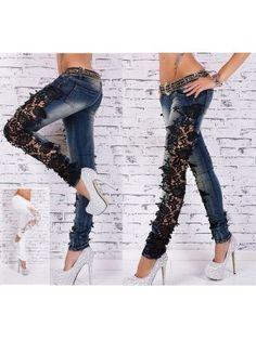 Jeans Pantaloni Donna con Pizzo JEA001