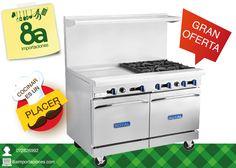GRAN OFERTA, 8a Importaciones te trae la mejor oferta del mes, a tan solo $4,490 cocina de 4 quemadores más plancha y más horno. Contiene base de almacenamiento abierto con (1) horno estándar (-126-XB) Estamos ubicados en: Manuel Vega 8-48 y Mariscal Sucre.