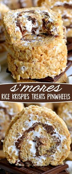 S'mores Rice Krispies Treats Pinwheels are infinitely better than traditional s'mores! Loaded with the irresistible flavors of marshmallow, chocolate and graham crackers in a super fun pinwheel package! Sure to be the hit of your next party! // Mom On Timeout #smores #chocolate #marshmallows #grahamcrackers #summer #eats #treats #dessert #desserts #ad