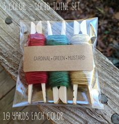 3 Color Solid  Baker's Twine Set - 10 Yards Each Color - Crafts - Gifts - Set B