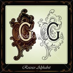 Capitals and initials in the rococo style — Vector de stock