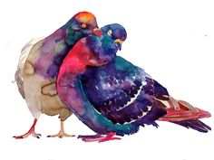 """Cute - I can imagine him saying, """"I'll just give you a little peck on the cheek""""  watercolor by Maja Wronska"""