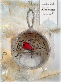 *Rook No. recipes, crafts & whimsies for spreading joy*: Holiday Craft: Winter Bird Diorama Ornament Christmas Ornaments To Make, Noel Christmas, Christmas Projects, Handmade Christmas, Holiday Crafts, Vintage Christmas, Christmas Bulbs, Christmas Decorations, Joy Holiday