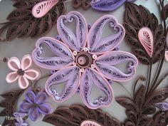 Картина панно рисунок Квиллинг Шоколадно-сиреневое панно Бумажные полосы Картон Клей фото 7