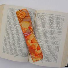 Autumn Floral Bookmark Fabric Bookmarker Orange by TwiggyandOpal, $4.75