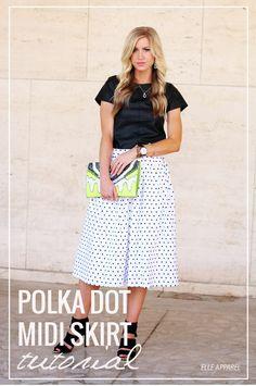 Black & white polka dot midi skirt tutorial.