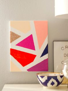 DIY Modern Mosaic Painting -- would be cool if there were several canvasses together