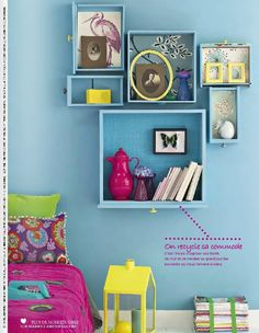 Upcycle old drawers into cute shelves/shadow boxes Diy Furniture Projects, Recycled Furniture, Cool Furniture, Diy Projects, Diy Casa, Old Drawers, Blue Rooms, Room Interior Design, Creative Decor