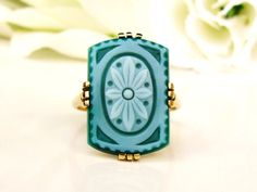 Antique Floral Carved Chalcedony Ring 18K by LadyRoseVintageJewel