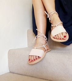 Nude colour lace-up sandals