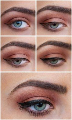Tutorial for Thin Winged Eyeliner Applied on Blue Eyes