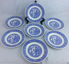 "Set of 7 Willow Ware Blue Willow Dessert / Salad plate 7 1/4"" diameter  USA mark #USA"