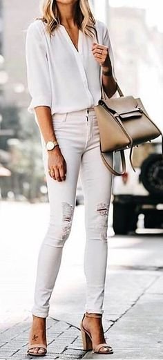 #Summer #Outfits / White Long Sleeve Blouse + White Ripped Skinny Pants