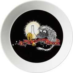This new black Moomin plate by Arabia features the Ancestor. Moomin Shop, Moomin Mugs, Classic Plates, Tove Jansson, Little My, Shape Design, 7 And 7, Finland, Childrens Books