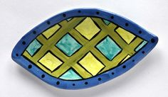 Handmade Earthenware Plaid Green Turquoise by ColorfulPottery