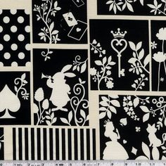 Silhouetted scenes from Alice in Wonderland are are printed amongst dots and stripes.This quilting weight Japanese fabric is 100% cotton and is 43/44