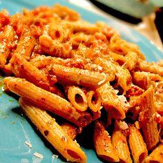 Ziti with Easy Tomato Pesto Sauce