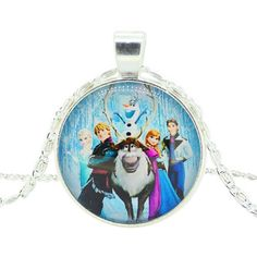 Girls Disney Frozen Characters Glass Dome Pendant Necklace Now On Sale