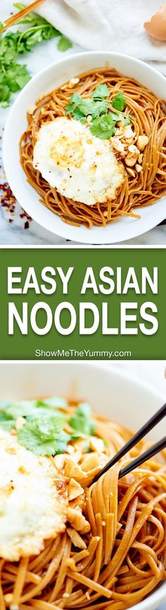 Easy Asian Noodles - A healthy, vegetarian recipe made with whole wheat pasta and over easy eggs! They're easy, tasty & better than delivery!