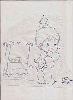 Taking a shower Baby Coloring Pages, Colouring Pics, Adult Coloring, Coloring Books, Painting Templates, Painting Patterns, Baby Painting, Fabric Painting, Vintage Embroidery
