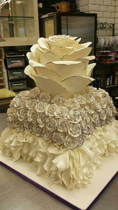 My actual wedding cake. Marj's enchanted rose themed wedding.