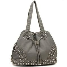 Grey Cinch Tie Stone Washed Studded Purse In Stock: $45