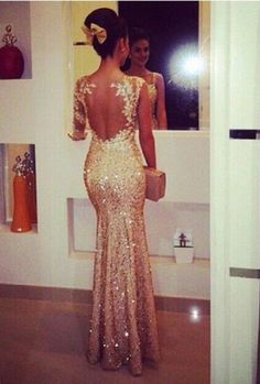 One Shoulder Long Sleeves Champagne Sequin Mermaid Prom Dress,See Through Back V Neck Lace Long Evening Dresses Prom,Sexy Fashion Women Dresses