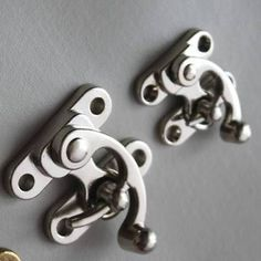 Large / Small Nickel Swing hook bag clasp BOX Latch with rivets DIY leathercraft in Leathercraft   eBay