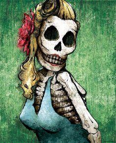 Dia de los Muertos Calavera Pinup - 12x18 High Quality Art Print. $20.00, via Etsy.