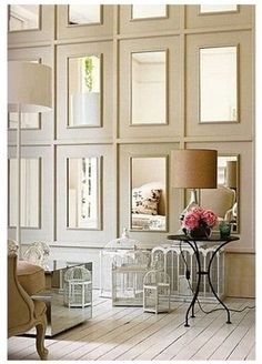 Mirrored Walls | Luxury Homes ... use the same idea to create the doors in the hallway of closets to hide the closet door after door look