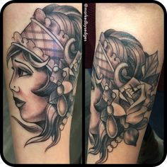 Lovely black and grey gypsy head tattoo by Mike Sedges.  #12ozstudios #team12oz #tattoo #tattoos #tattooart #blackandgrey #blackandgreytattoos #gypsy #gypsyhead #ladyheadtattoo #tattoosformen #tattoosforwomen