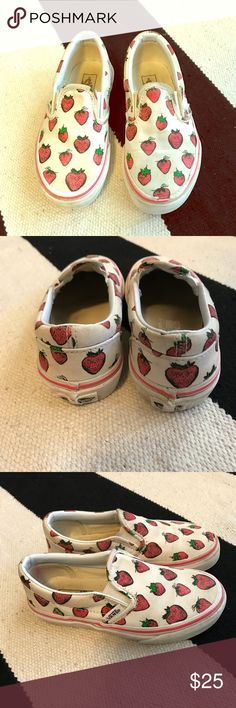 VANS strawberry slip ons 🍓 Great used condition.  Classic Vans quality. Slip on sneakers. These have been worn and played in so they show some minimal signs of wear, no holes or tears just not perfect white anymore but still super cute and a lot of life left in them !! 🍓🍓🍓 SOLD OUT ONLINE Vans Shoes Sneakers
