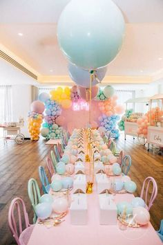 Pastel Jumbo-ballooned Party Table from a Here's the Scoop Pastel Ice Cream Party on Kara's Party Ideas First Birthday Parties, Birthday Party Decorations, Pastel Party Decorations, Children Birthday Party Ideas, Party Ideas For Kids, Kid Parties, Childrens Party, Baby Birthday, Birthday Ideas