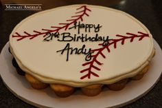 Baseball Cupcake Cake #243Hobbies by Michael Angelo's Bakery | This baseball design is made out of 30 cupcakes that are placed i the shape of a ball and then iced all together in butterream. Add any personal message on top for the perfect celebration!