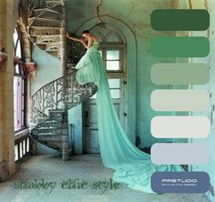 Tim Walker - Lily Cole and spiral staircase, Whadwan, Gujarat, India - British Vogue, Elegance! Looks Style, Looks Cool, Vestidos Color Menta, Tim Walker Photography, Lily Cole, Mint Green Dress, Green Gown, White Dress, Model Foto