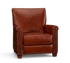 Irving Leather Recliner, Bronze Nailheads, Polyester Wrapped Cushions, Bourbon