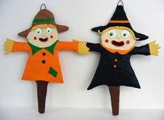 Halloween Folk Art Scarecrow Ornament by seasonsart1031 on Etsy, $15.00