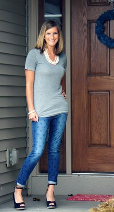 Obsessed with these Stitch Fix jeans--I would love a pair of jeans with large polka dots like these.