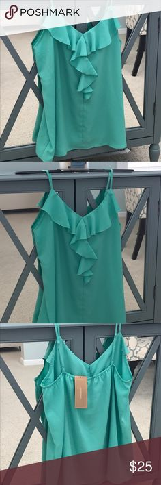 Francesca's spaghetti strap tank - mint Beautiful adjustable spaghetti strap tank perfect to wear on its own or under a blazer.  A mermaid-approved addition to your warm weather closet! Francesca's Collections Tops