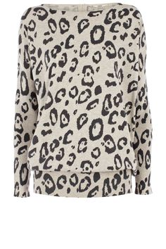 This Oasis oversized long sleeved jumber has an all over animal print and zips at the back of the neck. #oasis #animal #jumper
