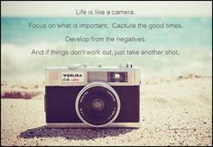 Life is like a camera Focus on what's important Develop from the negatives And…