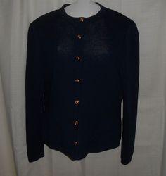ST. JOHN KNIT SJK Sz 10 Women Cardigan Sweater Navy Blue Gold Button Long Slve #StJohn #CardiganSweater