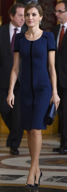 Once inside the Royal Palace, Doña Letizia removed the jacket. Queen Letizia of Spain attends Spain's National Day royal reception at Royal Palace in Madrid on October 12, 2015 in Madrid, Spain.