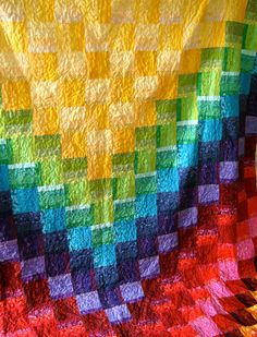 The Good Life Rainbow Queen Quilt. $850.00, via Etsy.