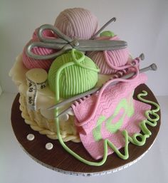 Knitting Basket Cake by CakeyCake