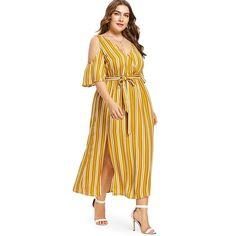 8798b51a0e330 Plus Size Striped Belted Cold Shoulder Dress V-Neck Short Sleeve Long Boho  Beach Dress