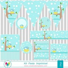 Kit festa imprimir - Passarinho mod:717 Printable party Cute Bird