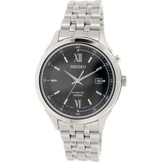 Seiko Men's SKA657 Silver Stainless-Steel Seiko Kinetic Watch