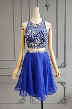 Lovely Short Mini Royal Blue Chiffon Beaded Two Pieces Prom Cocktail Dress With Keyhole Back - Winter Prom Dresses, Royal Blue Prom Dresses, Orange Blush, Purple Grey, Cocktail Dress Prom, Beaded Chiffon, Prom Dresses Online, Two Pieces, Hot Pink