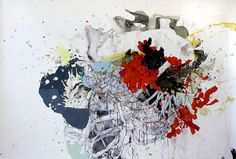blimp - acrylic and sumi ink on paper (2012) by katherine mann